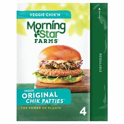 Morning Star Farms Meatless Chicken Patties, Plant Based Protein Vegan Meat, Frozen Meal, Original