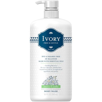 Ivory Free & Gentle Cleanse & Soothe Body Wash with Chamomile Scent, 500mL