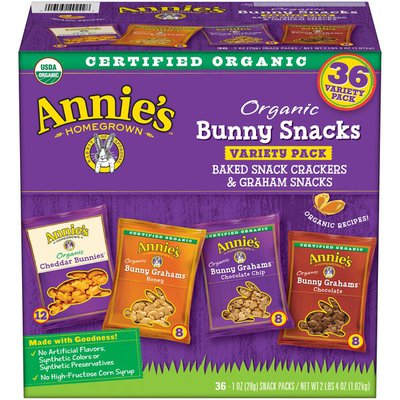 Annie's Organic Bunny Snacks Variety Pack Baked Snack Crackers & Graham Snacks