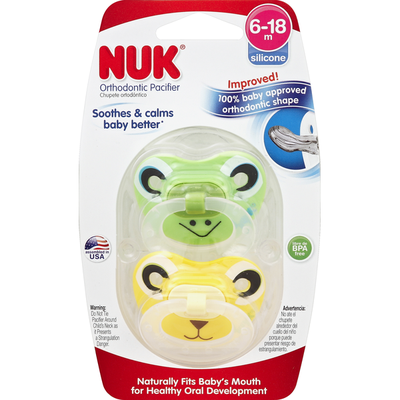 NUK Pacifiers, Orthodontic, Silicone, 6-18 M