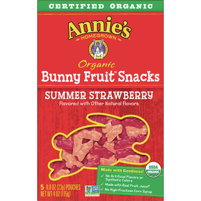 Annie's Organic Summer Strawberry Bunny Fruit Snacks, Gluten Free, 5 Count