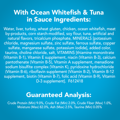 Friskies Wet Cat Food, Shreds With Ocean Whitefish & Tuna in Sauce