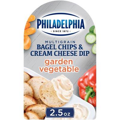 Philadelphia Multigrain Bagel Chips & Garden Vegetable Cream Cheese Dip Snack