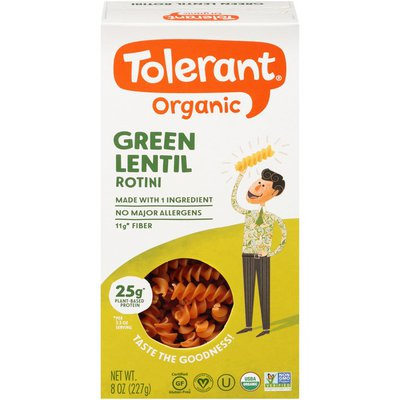 Tolerant Organic Green Lentil Rotini Pasta