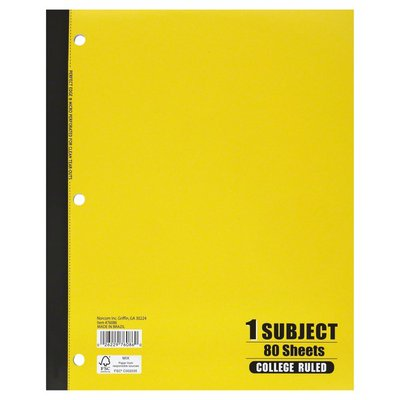 Norcom Notebook, 1 Subject, College Ruled, 80 Sheets