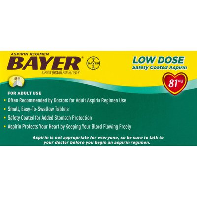 Bayer Pain Reliever, 81 mg, Low Dose, Tablets
