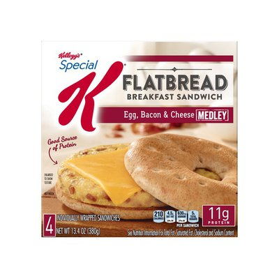 Kellogg's Special K Flatbread Breakfast Sandwiches Egg, Bacon, and Cheese Medley