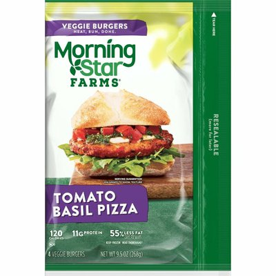 Morning Star Farms Veggie Burgers, Plant Based Protein, Frozen Meal, Tomato Basil Pizza