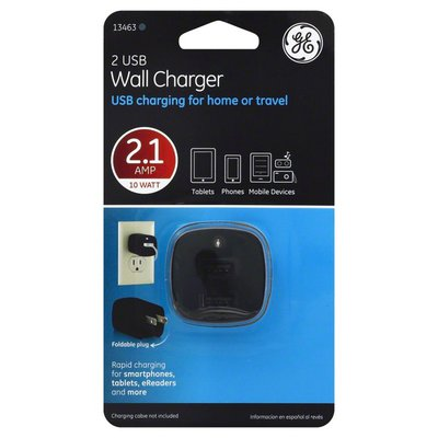 GE Wall Charger, 2 USB, 2.1 Amp