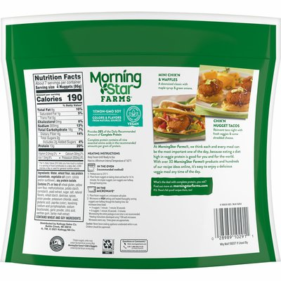 Morning Star Farms Meatless Chicken Nuggets, Plant Based Protein Vegan Meat, Frozen Meal, Original