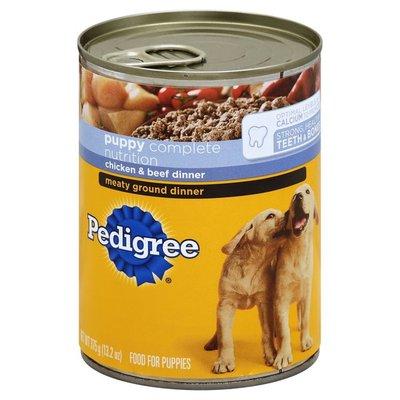 Pedigree Puppy Chopped Ground Dinner Dog Food with Chicken & Beef