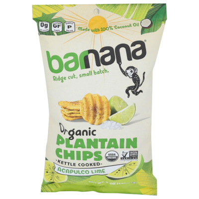barnana Plantain Chips, Organic, Acapulco Lime, Kettle Cooked