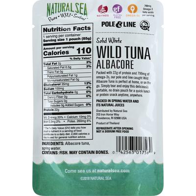 NATURAL SEA Wild Tuna, Solid White, Albacore, Unsalted