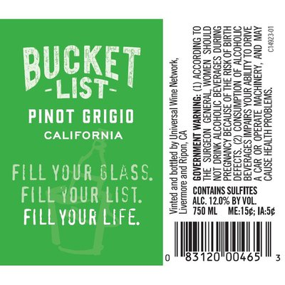 Bucket List ® Bucket List Pinot Grigio White Wine
