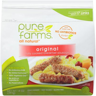 Pure Farms All Natural Original Fully Cooked Breakfast Sausage