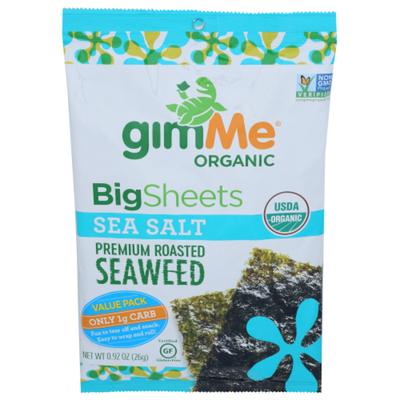 gimMe Seaweed, Premium Roasted, Big Sheets, Sea Salt, Value Pack