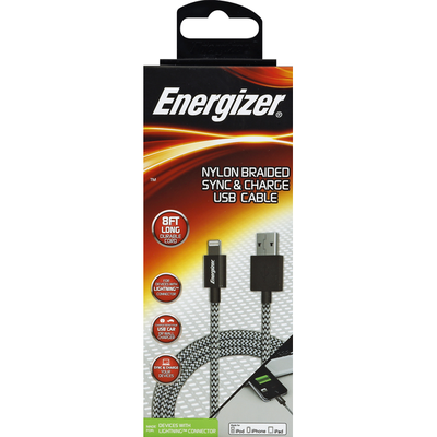 Energizer USB Cable, Sync & Charge, Nylon Braided, 8 Foot