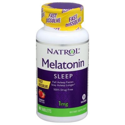 Natrol Melatonin, 1 mg, Strawberry, Tablets
