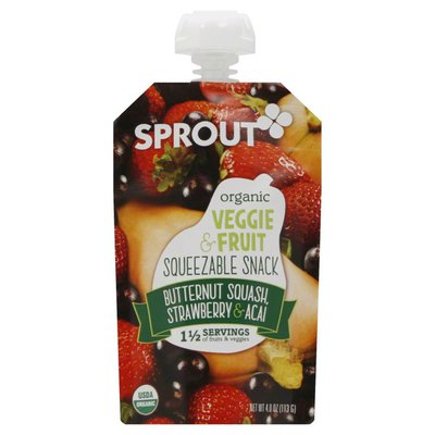 Sprout Squeezable Snack, Organic, Veggie & Fruit, Butternut Squash, Strawberry & Acai
