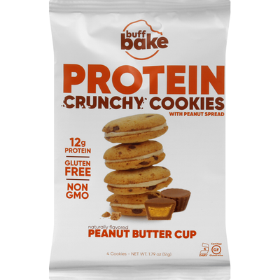 Buff Bake Cookies, Protein, Crunchy, Peanut Butter Cup