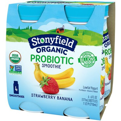 Stonyfield Organic Probiotic Strawberry Banana Lowfat Yogurt Smoothies