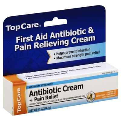 TopCare Antibiotic Cream + Pain Relief, Maximum Strength