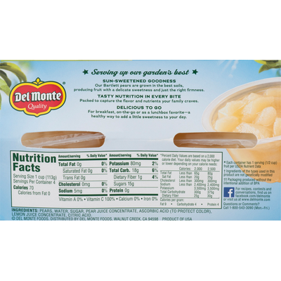 Del Monte Diced Bartlett Pears in Light Syrup Fruit Cups