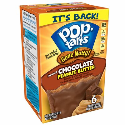 Kellogg's Pop-Tarts Gone Nutty! Breakfast Toaster Pastries, Frosted Chocolate Peanut Butter