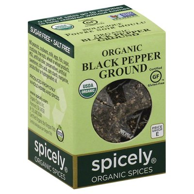 Spicely Organics Black Pepper, Ground, Organic