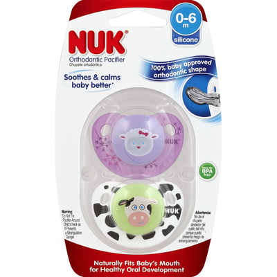 NUK Pacifiers, Advanced Orthodontic, Silicone, Design, 0-6 M