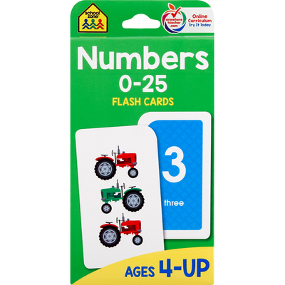 School Zone Flash Cards, Numbers, 0-25