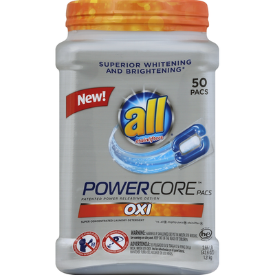 all Laundry Detergent, Super Concentrated, Oxi, Pacs