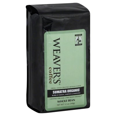 Weavers Coffee, Whole Bean, Sumatra Organic
