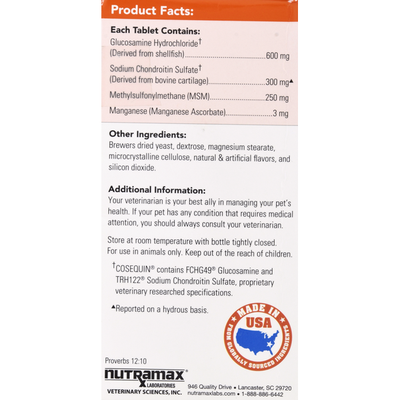 Nutramax Joint Health Supplement, Plus MSM, Maximum Strength, Chewable Tablets