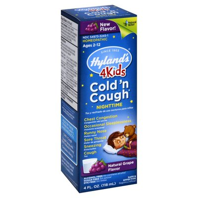 Hyland's Cold 'n Cough, Nighttime, 4Kids, Natural Grape Flavor