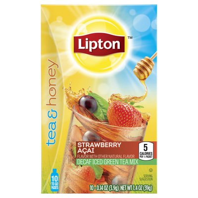 Lipton Decaf Iced Green Tea To-go Packets Strawberry Acai