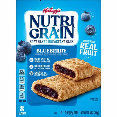 Kellogg's Nutri-Grain Soft Baked Breakfast Bars, Made with Real Fruit and Whole Grains, Kids Snacks, Blueberry