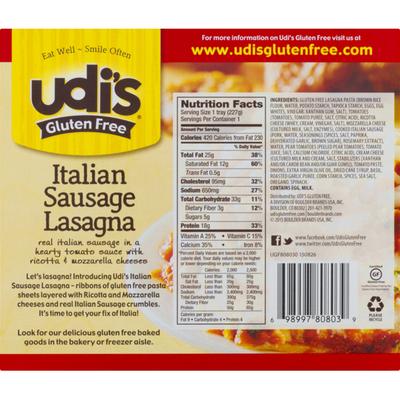 Udi's Lasagna, Italian Sausage