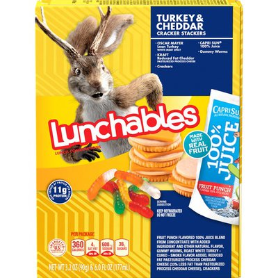 Lunchables Turkey & Reduced Fat Cheddar Cheese Cracker Stackers Meal Kit with Capri Sun Fruit Punch 100% Juice Drink & Gummy Worms