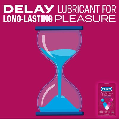 Durex® Ultra Fine, Ribbed, Dotted with Delay Lubricant, Performax Intense Natural Rubber Latex Condoms