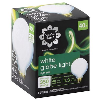 Signature Home Light Bulb, Globe Light, Soft White, 40 Watts