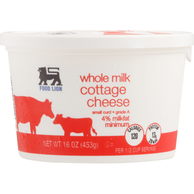 Food Lion Cottage Cheese, Whole Milk, Small Curd