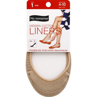 No nonsense Liners, Hidden Cotton, Nude, Low, 4-10