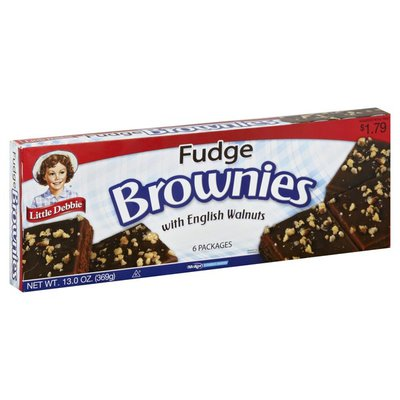 Little Debbie Brownies, Fudge, with English Walnuts