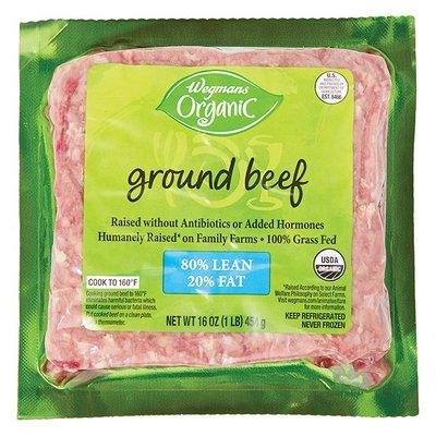 Wegmans Organic Beef, Ground, 80/20