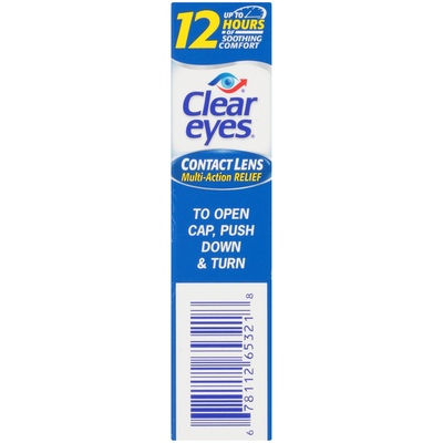 Clear Eyes Contact Lens Multi-Action Relief Lubricating Eye Drops for Contact Lens Wearers
