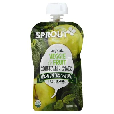 Sprout Organic Veggie & Fruit Squeezable Snack, Mixed Greens & Apple