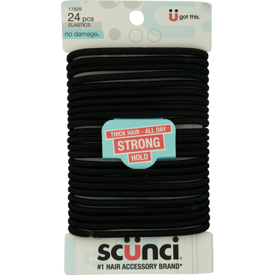Scunci Elastics, Thick Hair - All Day, Strong Hold