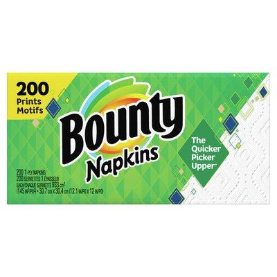 Bounty Paper Napkins, White And Print
