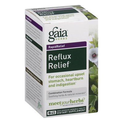 Gaia Herbs Reflux Relief, RapidRelief, Chewable Tablets